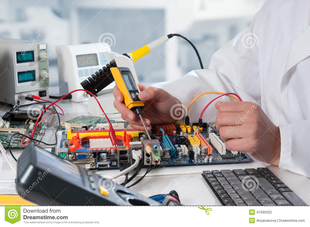 Stock Photo Repairman Fixes Electronic Equipment Service Center Image41590322 on electronic repair service