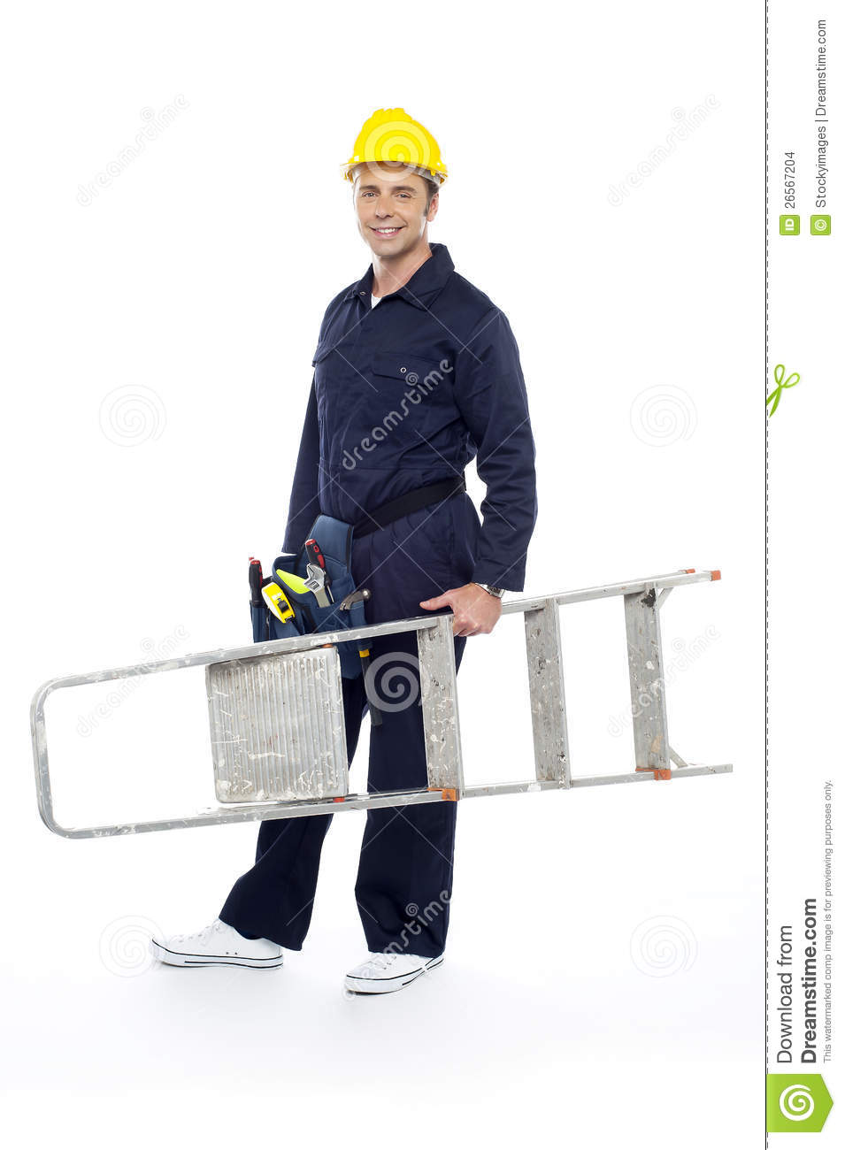 Repairman holding stepladder ready to go to work stock for Ready to go images
