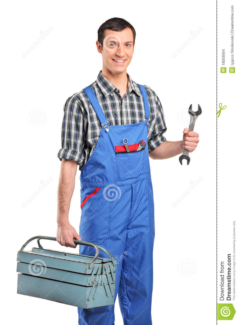 A Repairman In Verall Holding A Toolbox Stock Photo - Image of mechanical, garment: 18059564