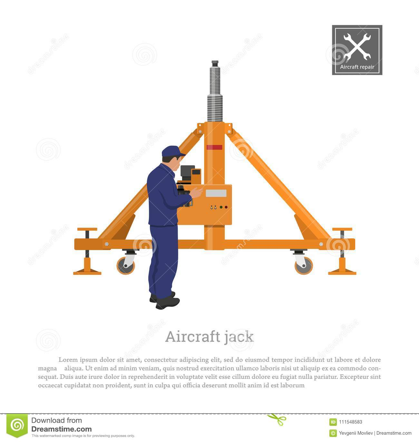 Reparación y mantenimiento de aviones Ingeniero con el enchufe del aeroplano Dibujo industrial del engranaje plano en estilo plan
