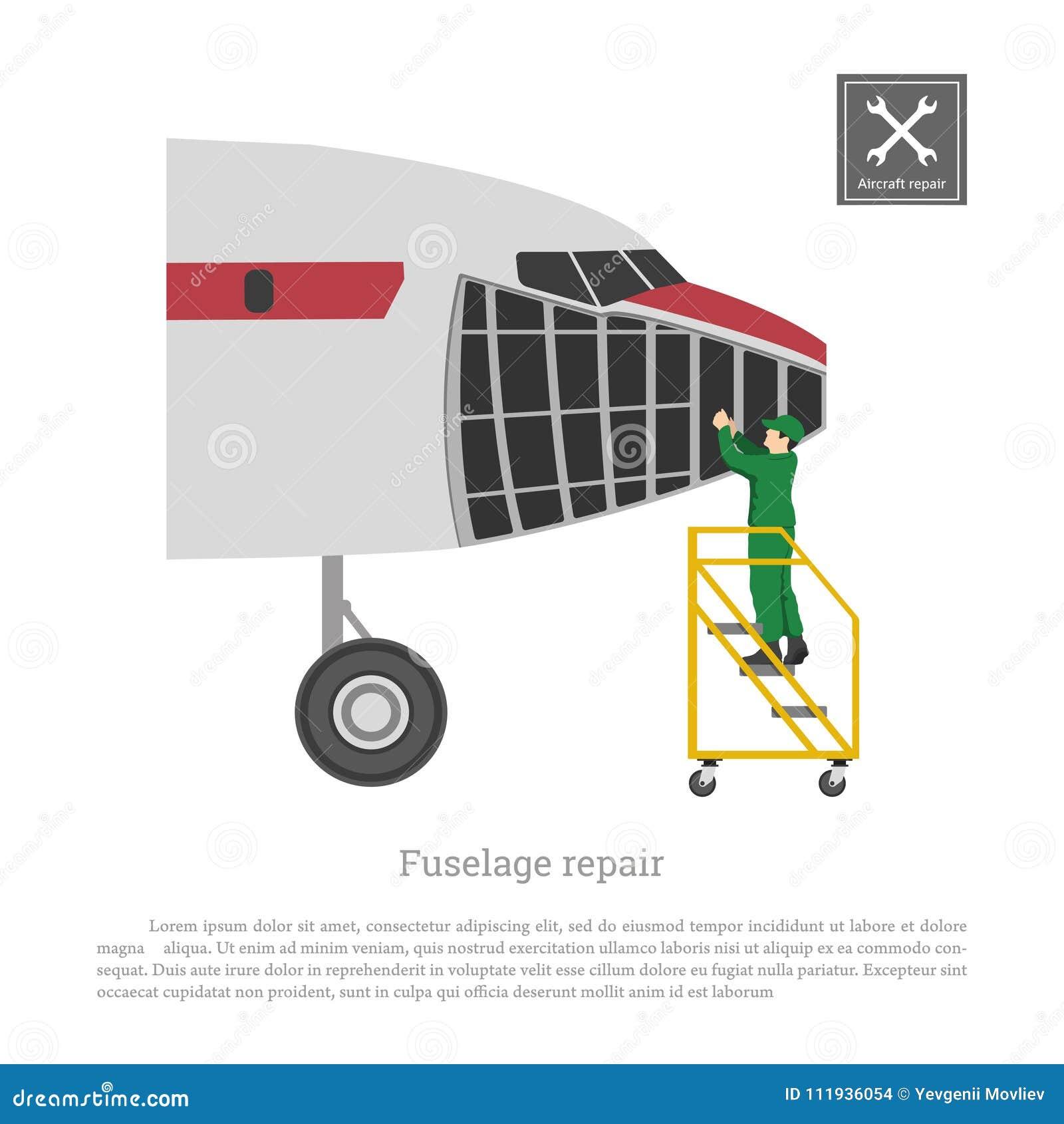 Reparación y mantenimiento de aviones Servise del fuselaje del aeroplano Dibujo industrial del avión en estilo plano