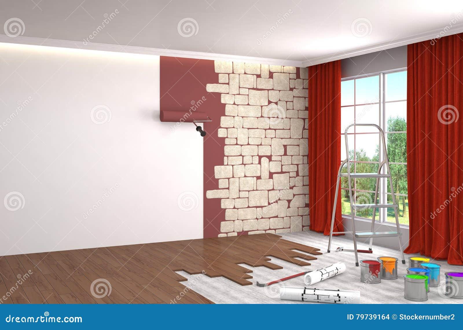 Reparación y pintura de paredes en sitio ilustración 3D