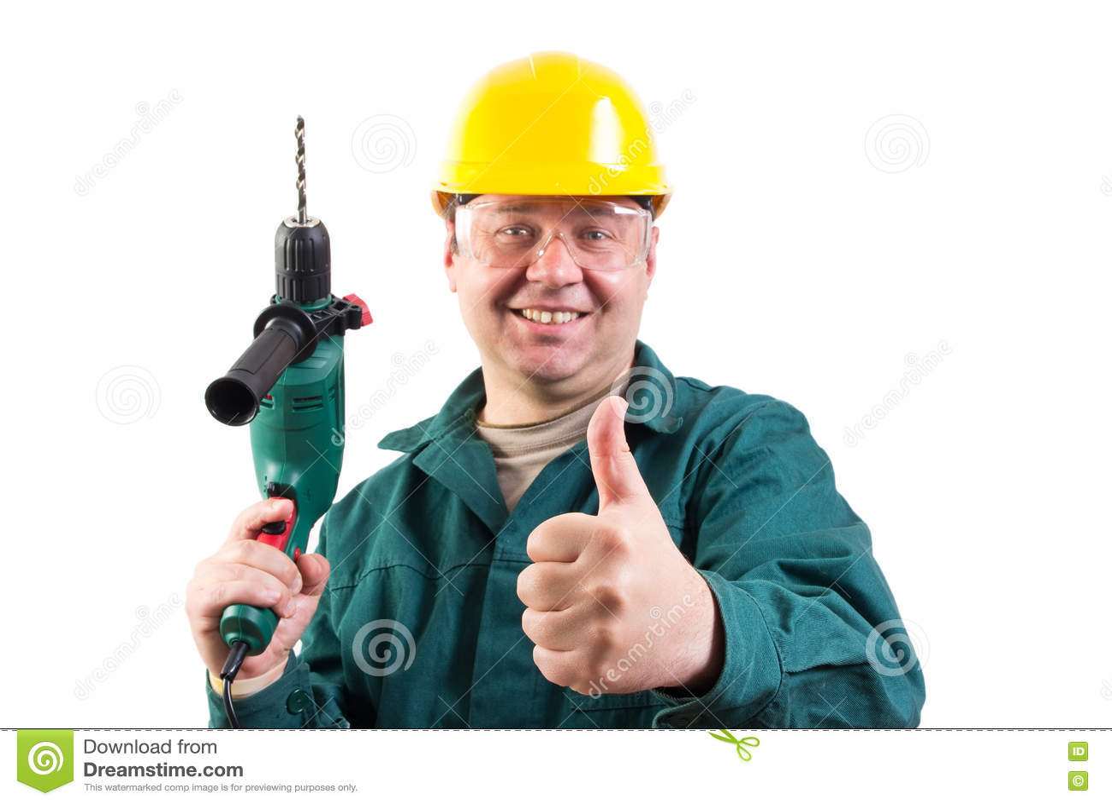 Reparador sonriente que gesticula los pulgares para arriba - Reparador de cristales ...