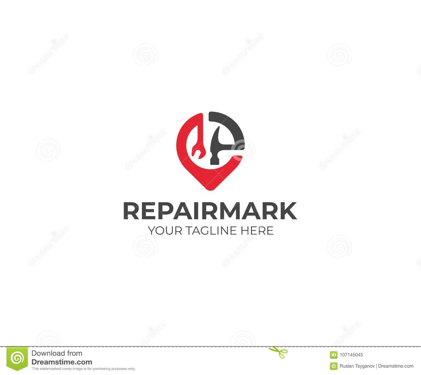 Reparatie en Bouw Placemark Logo Template Moersleutel en Hamer Vectorontwerp