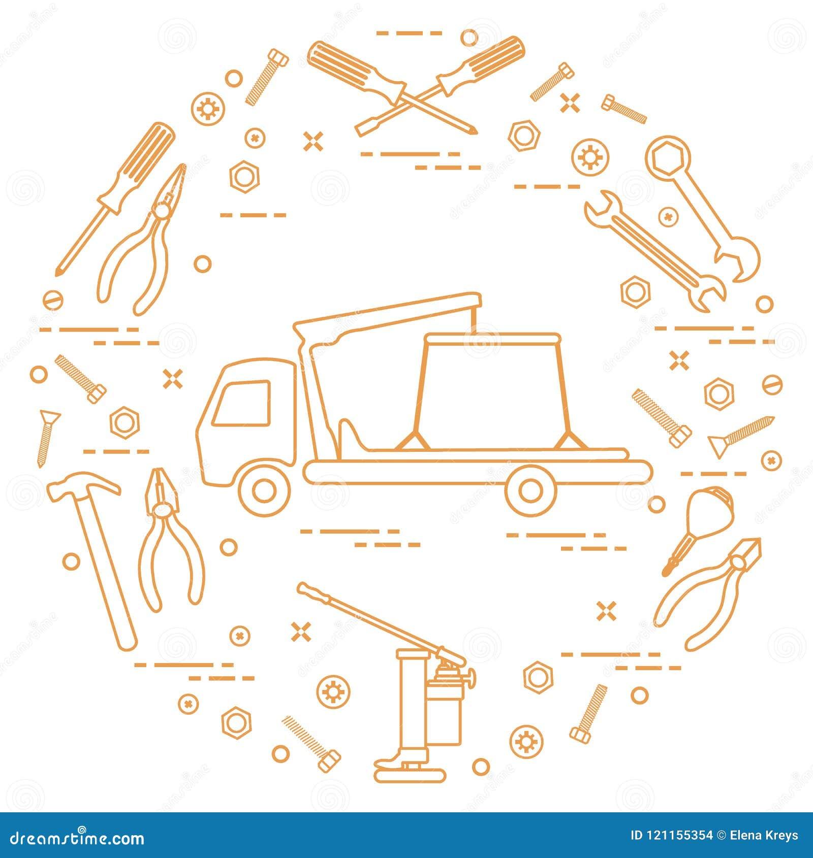 Reparaturautos: Abschleppwagen, Schlüssel, Schrauben, Schlüssel, Zangen, Steckfassung, Schinken