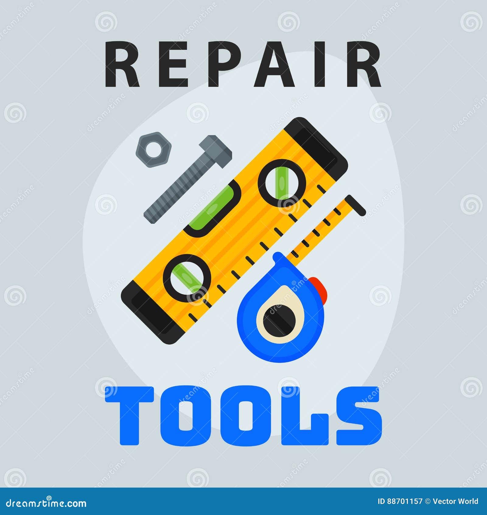 Repare el elemento creativo del logotipo del diseño gráfico del icono llano de la cinta métrica de las herramientas y mantenga el