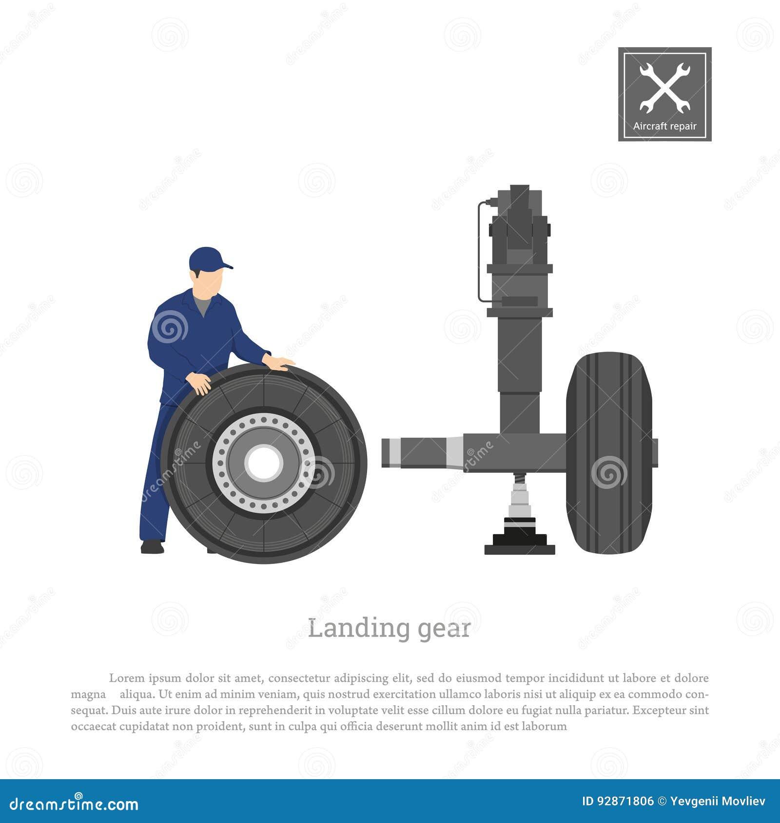 Reparo e manutenção dos aviões Projete a roda do reparo no trem de aterrissagem do avião Desenho industrial em um estilo liso