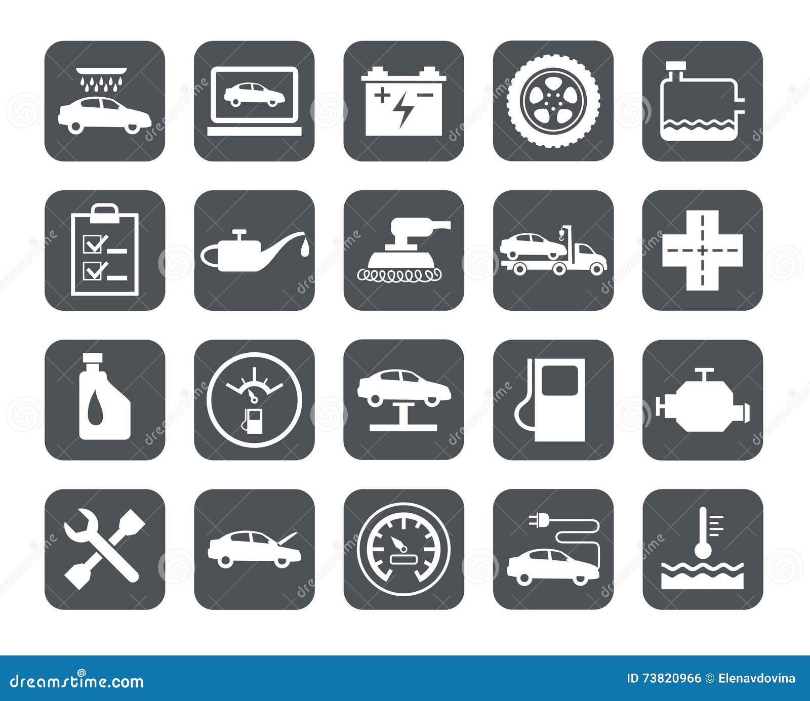 Reparo e manutenção dos veículos, ícones da único-cor, cinzentos