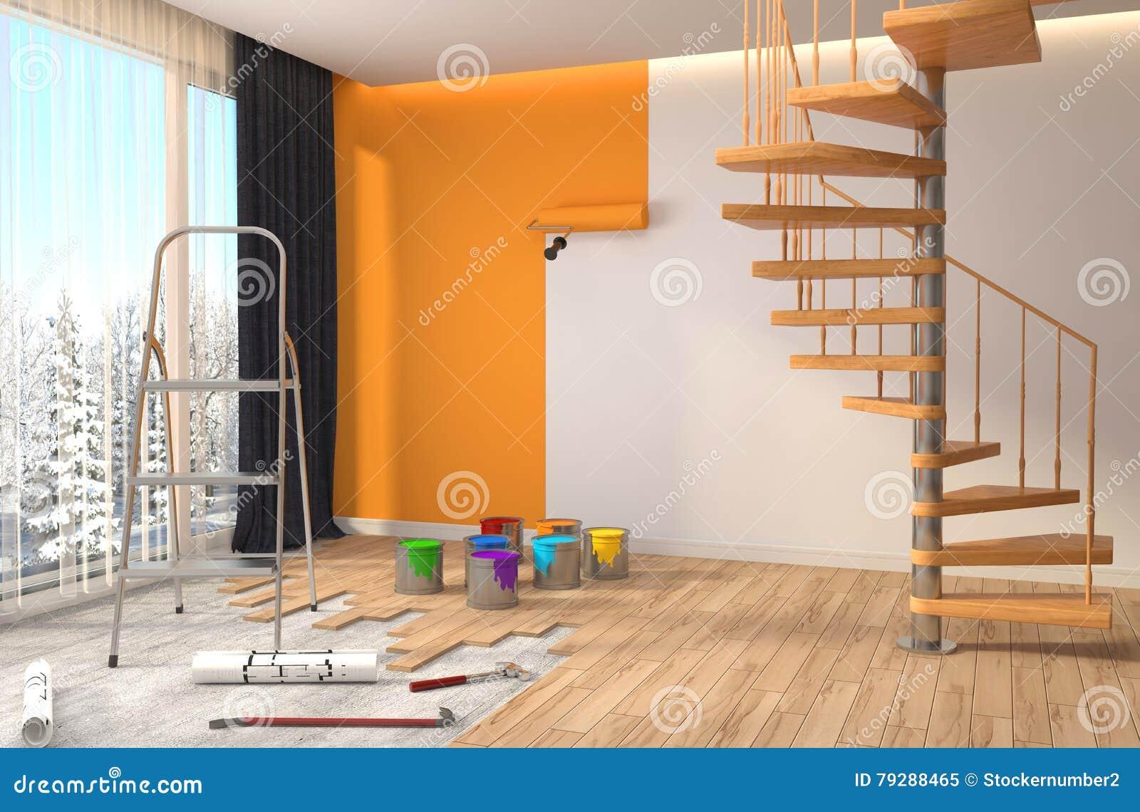Reparo E Pintura Das Paredes Na Sala Ilustração 3d Ilustração Stock