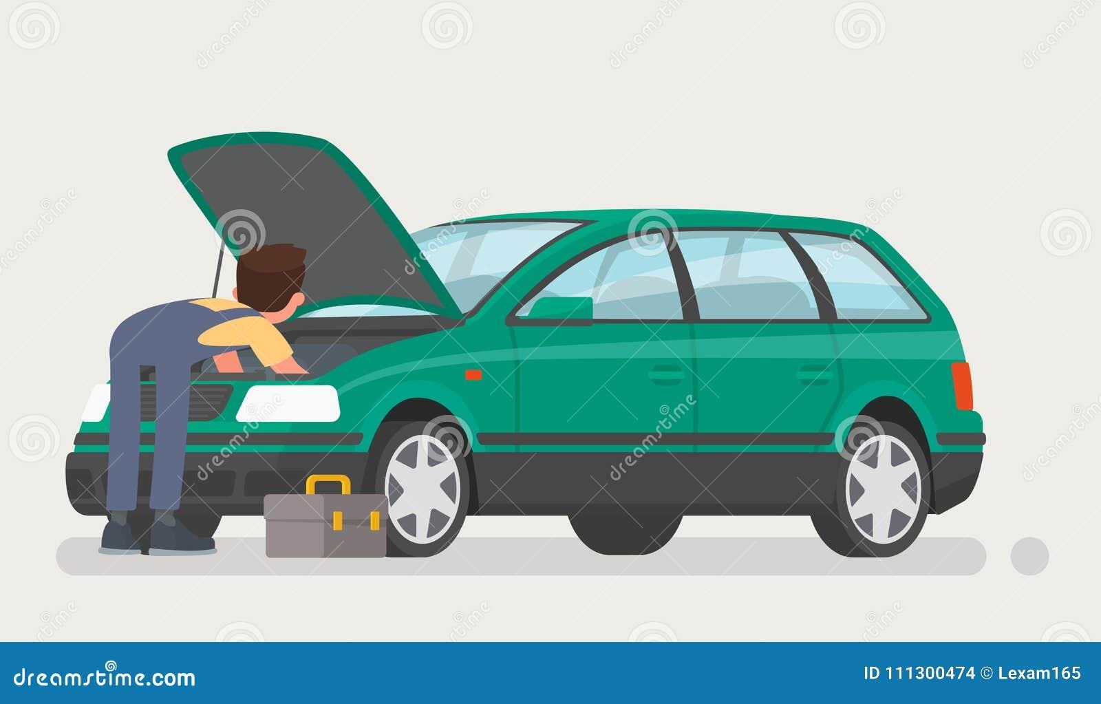 Reparos do carro O auto mecânico abriu a capa e reparou o carro Ilustração do vetor
