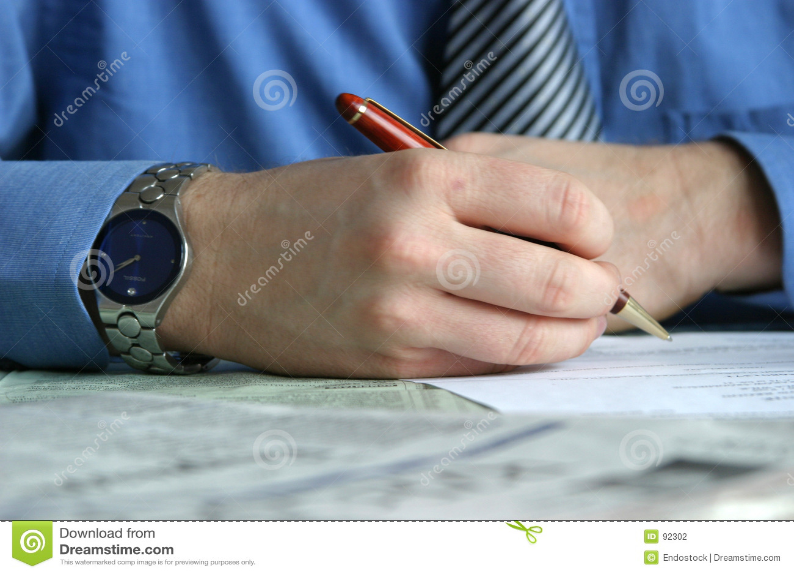 Reparto - contrato de firma de la mano