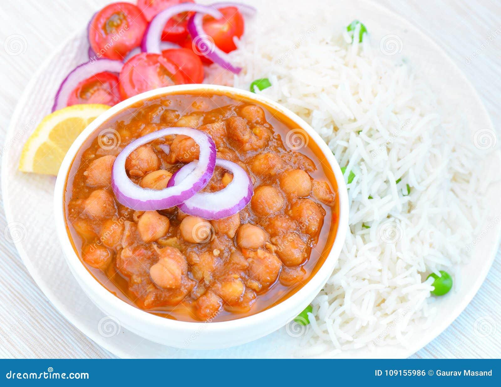 Repas de riz de masala de channa de chawal-Punjabi de Chole