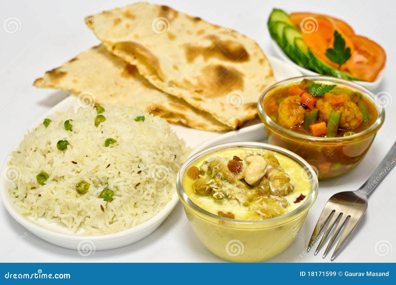 Repas indien avec le poulet Korma
