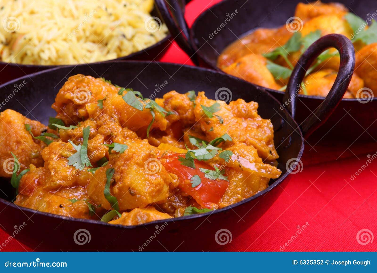 Repas indien de cari