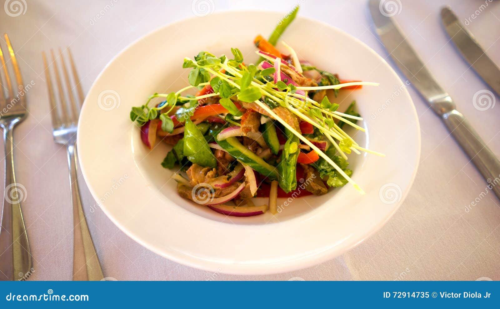 Repas thaïlandais d entrée de salade de boeuf