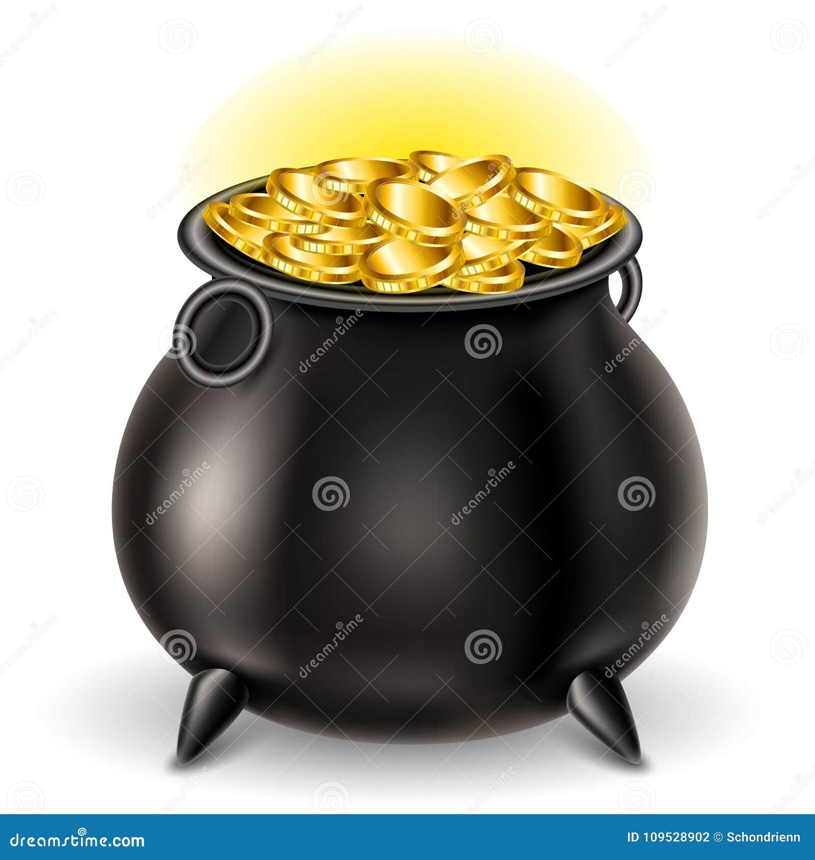 ccdacaceb1fa7 Repassez le chaudron complètement avec la pièce d or brillante, pour le jour  du `