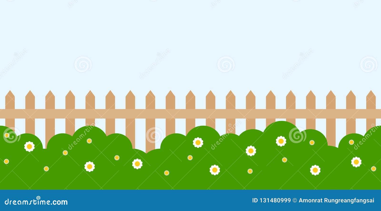 Repeat Background, Garden Landscape Theme Flat Design Stock Vector