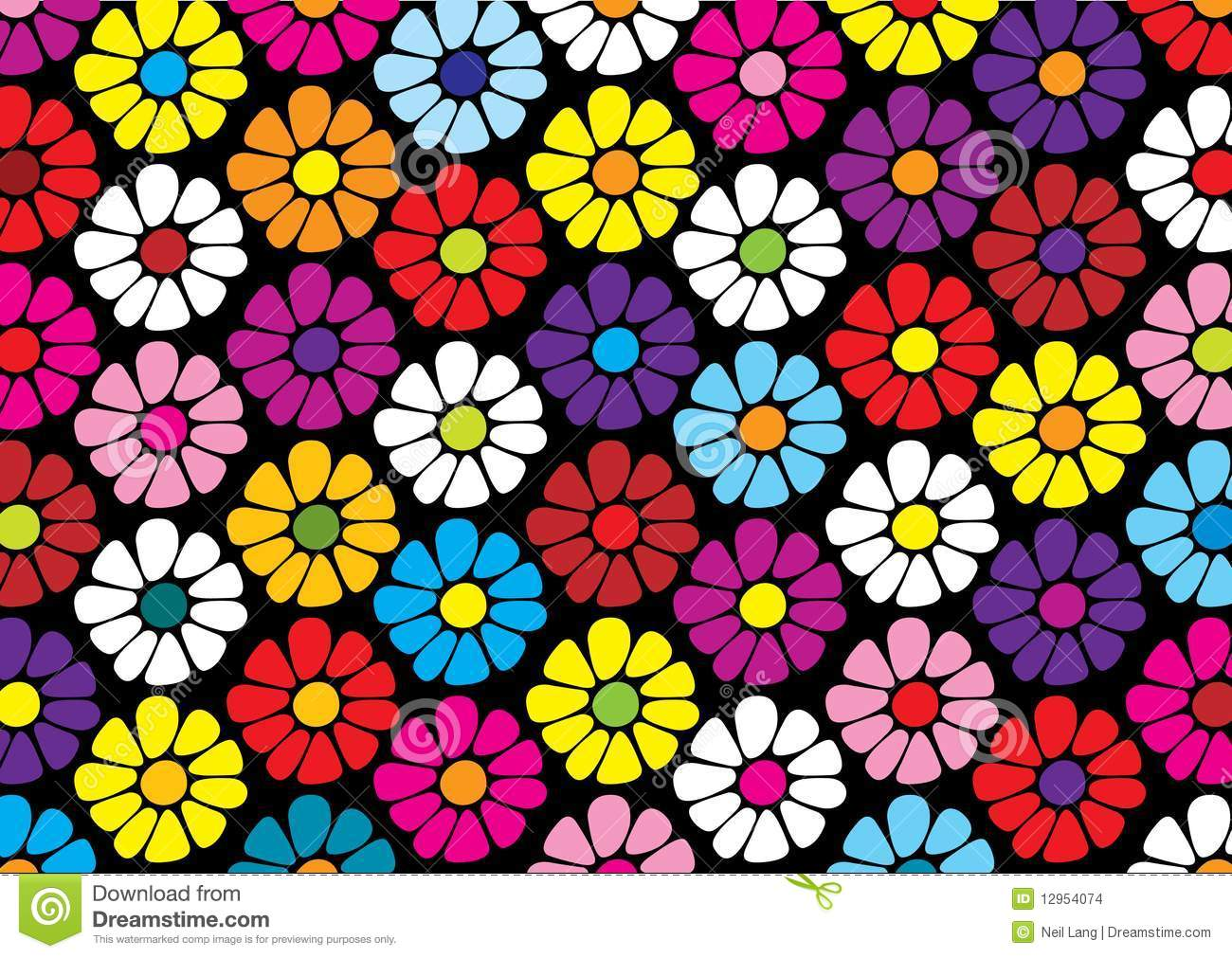 Repeat Pattern Of Bright Daisy Flowers Stock Vector Illustration