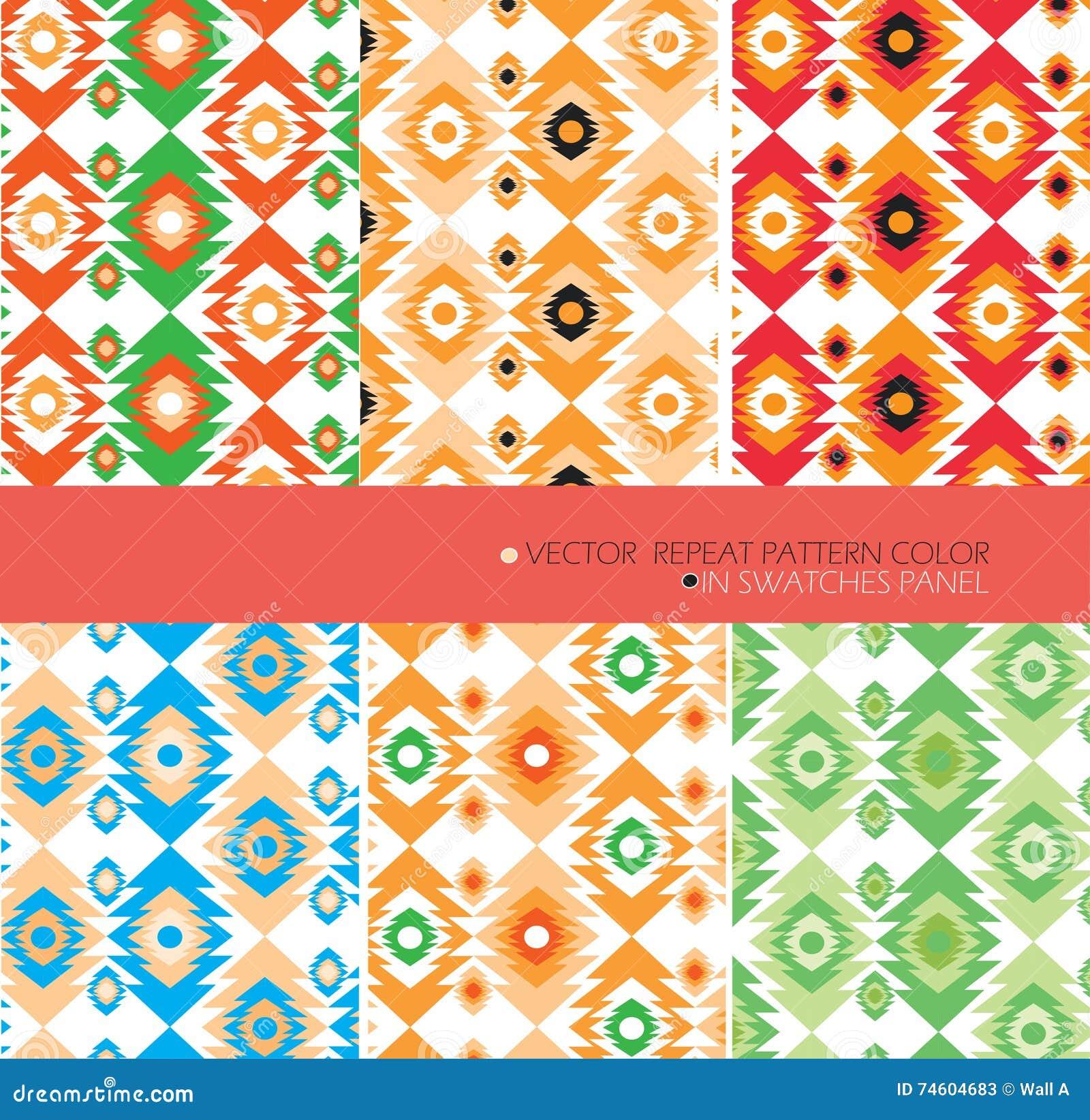 Repeat pattern modern graphic vector set 6 color aztec background stock illustration image - Ways decorating using kilim print ...