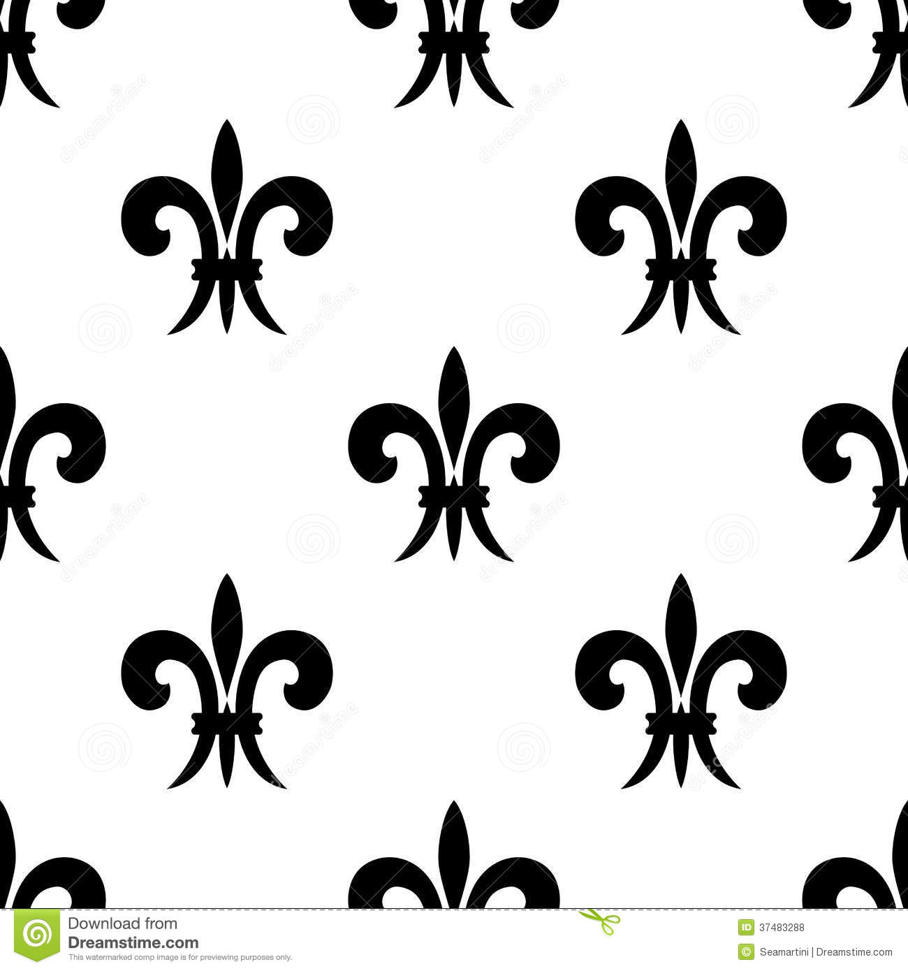 Repeat Seamless Pattern Of Fleur De Lys Stock Vector