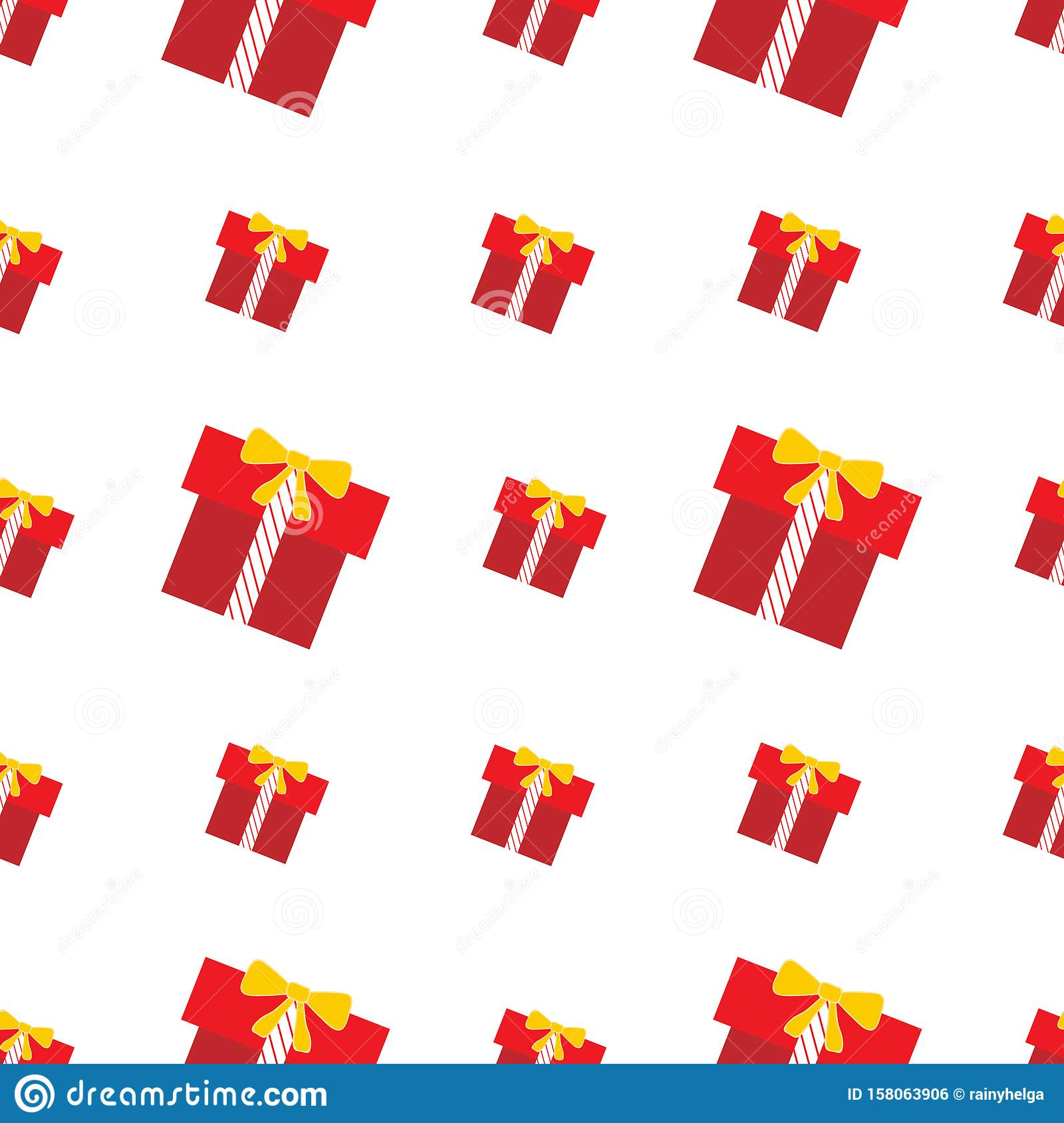 Repeat seamless pattern with red and yellow gift boxes on the white background