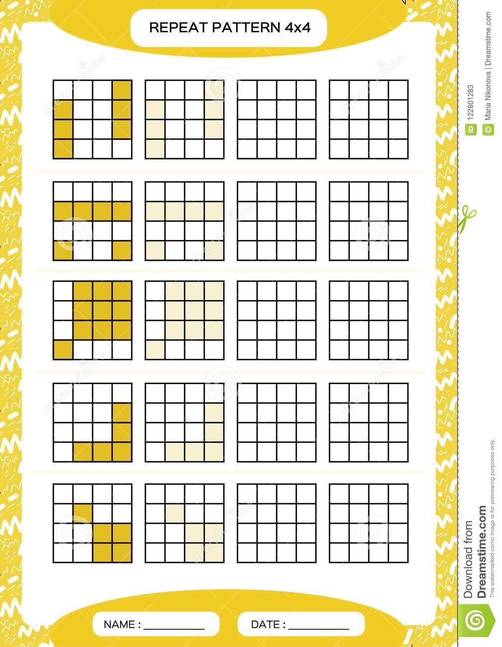 Repeat yellow pattern cube grid with squares special for preschool repeat yellow pattern cube grid with squares special for preschool kids worksheet for ibookread ePUb