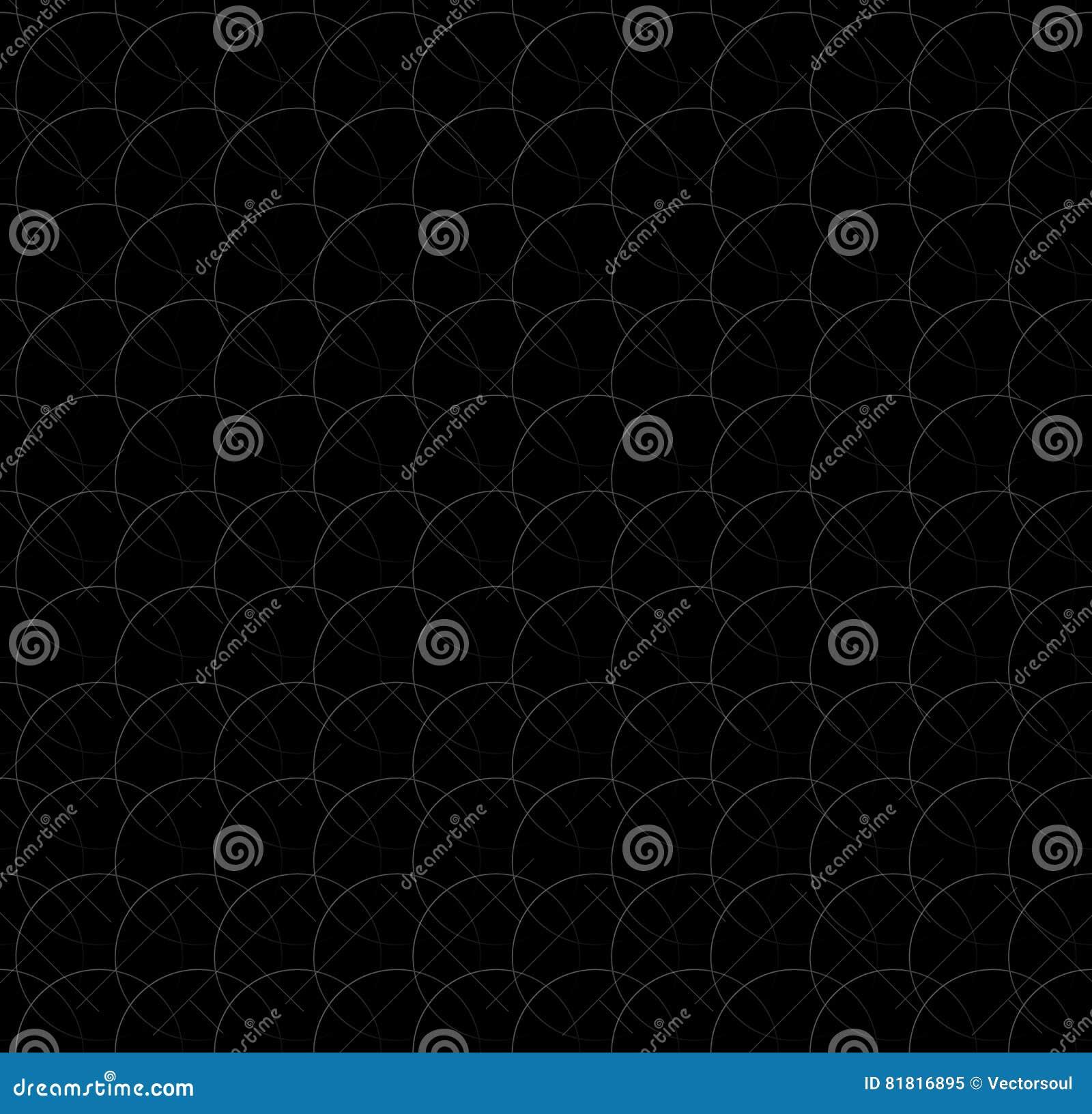 Repeatable pattern w/ interlocking circles, rings. Regular monochrome seamless geometric pattern.