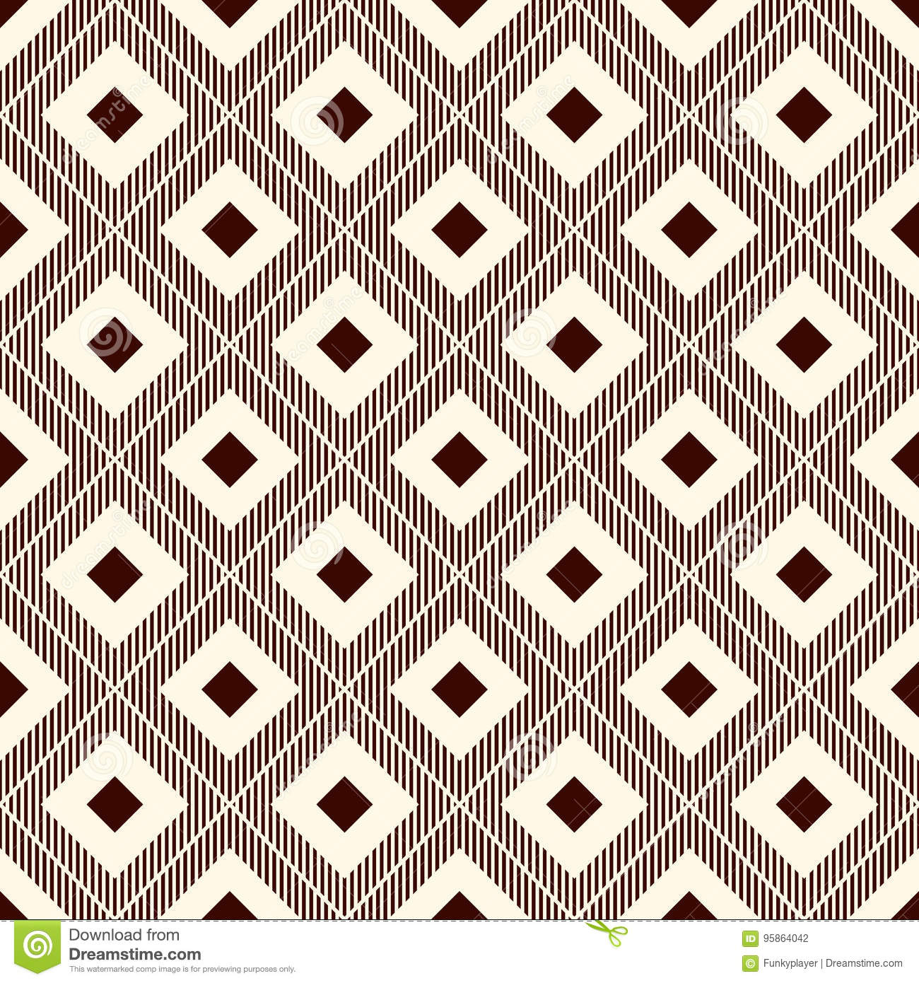 Repeated Brown Diamonds And Hatch Lines Ikat Wallpaper Seamless Surface Pattern With Native Design