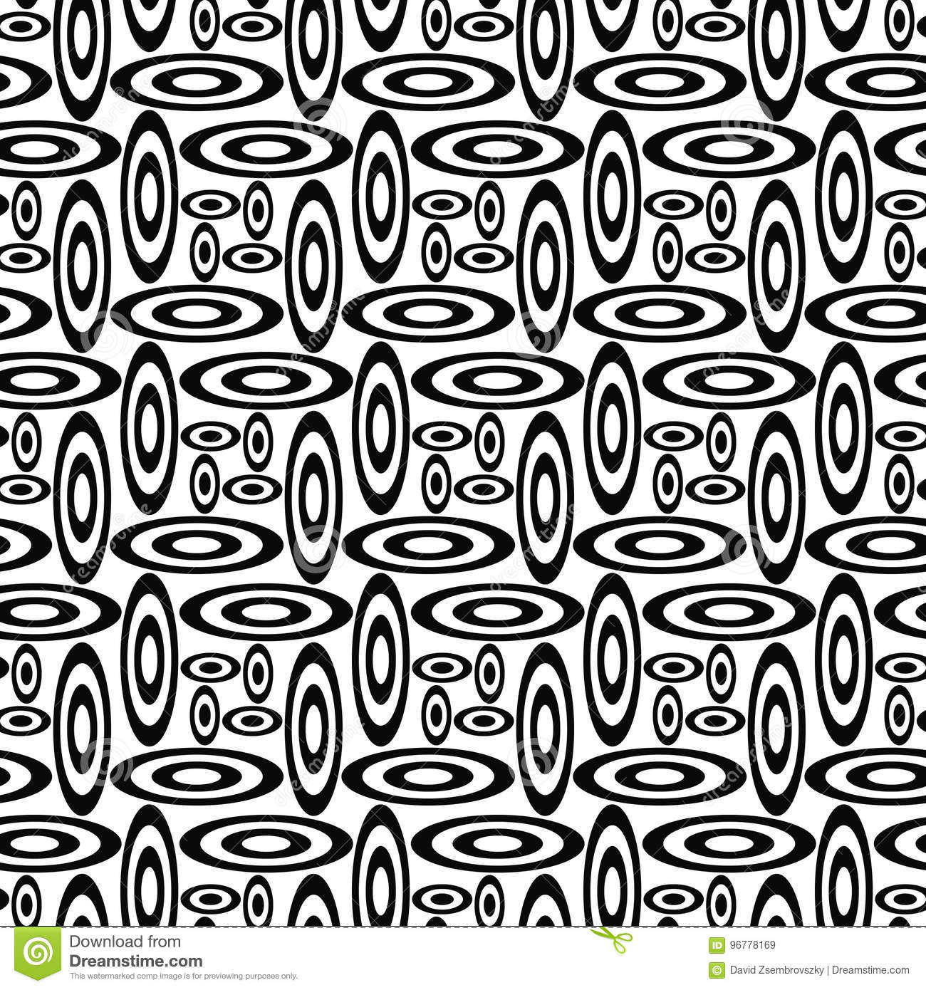 Repeating Black And White Ellipse Pattern Stock Vector ...