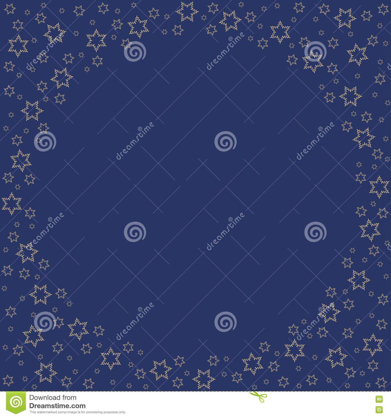 repeating golden stars silhouette pattern on the blue background border frame with space for text christmas