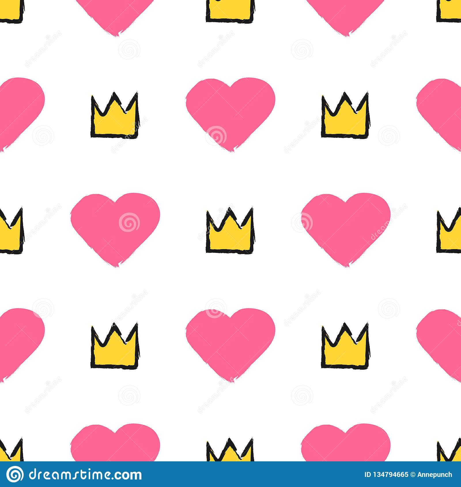 Repeating hearts and crowns drawn by hand with a rough brush. Stylish girly seamless pattern. Sketch, watercolor, paint, graffiti.