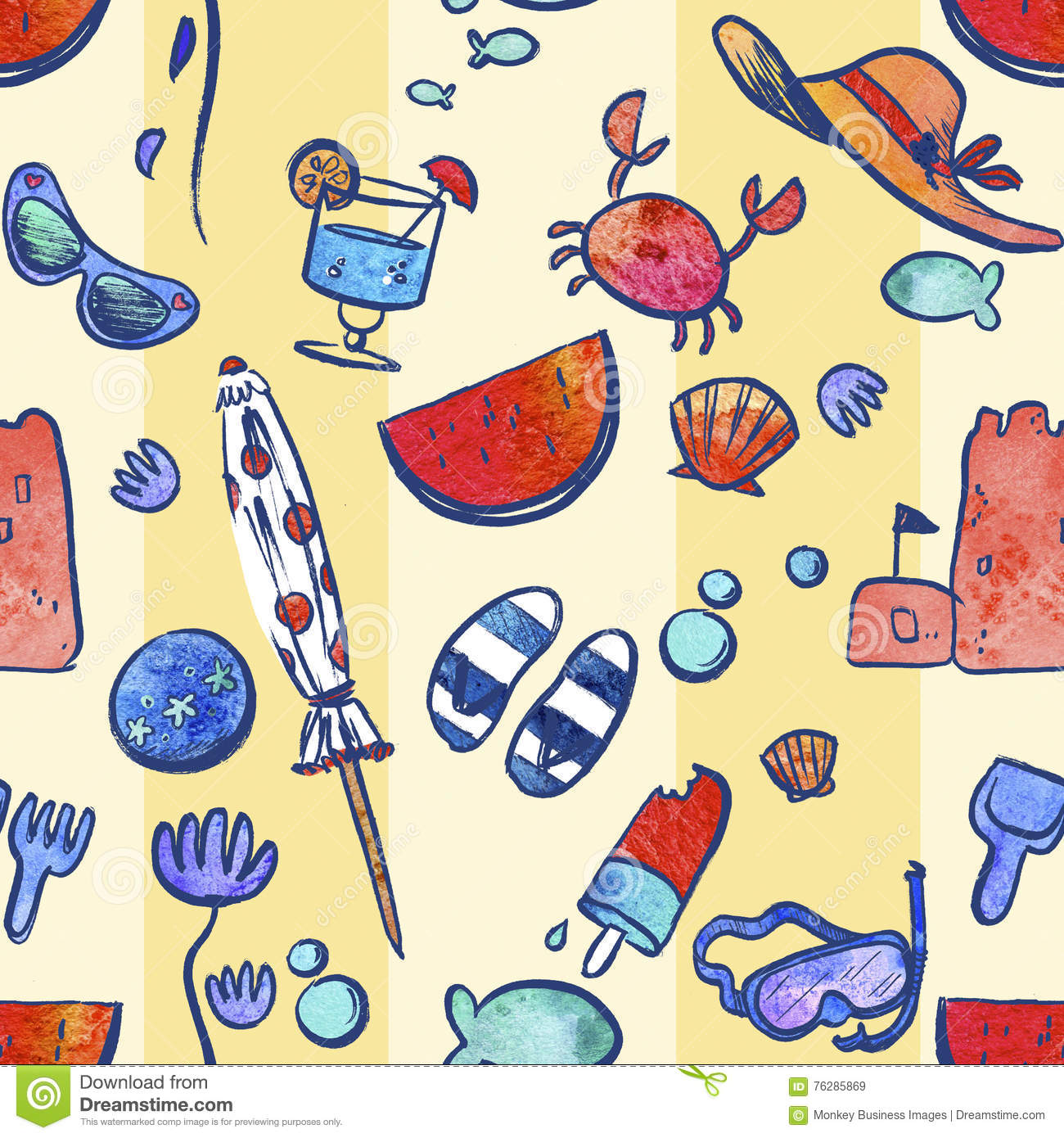 Repeating Pattern Illustration Of Travel And Vacation Icons