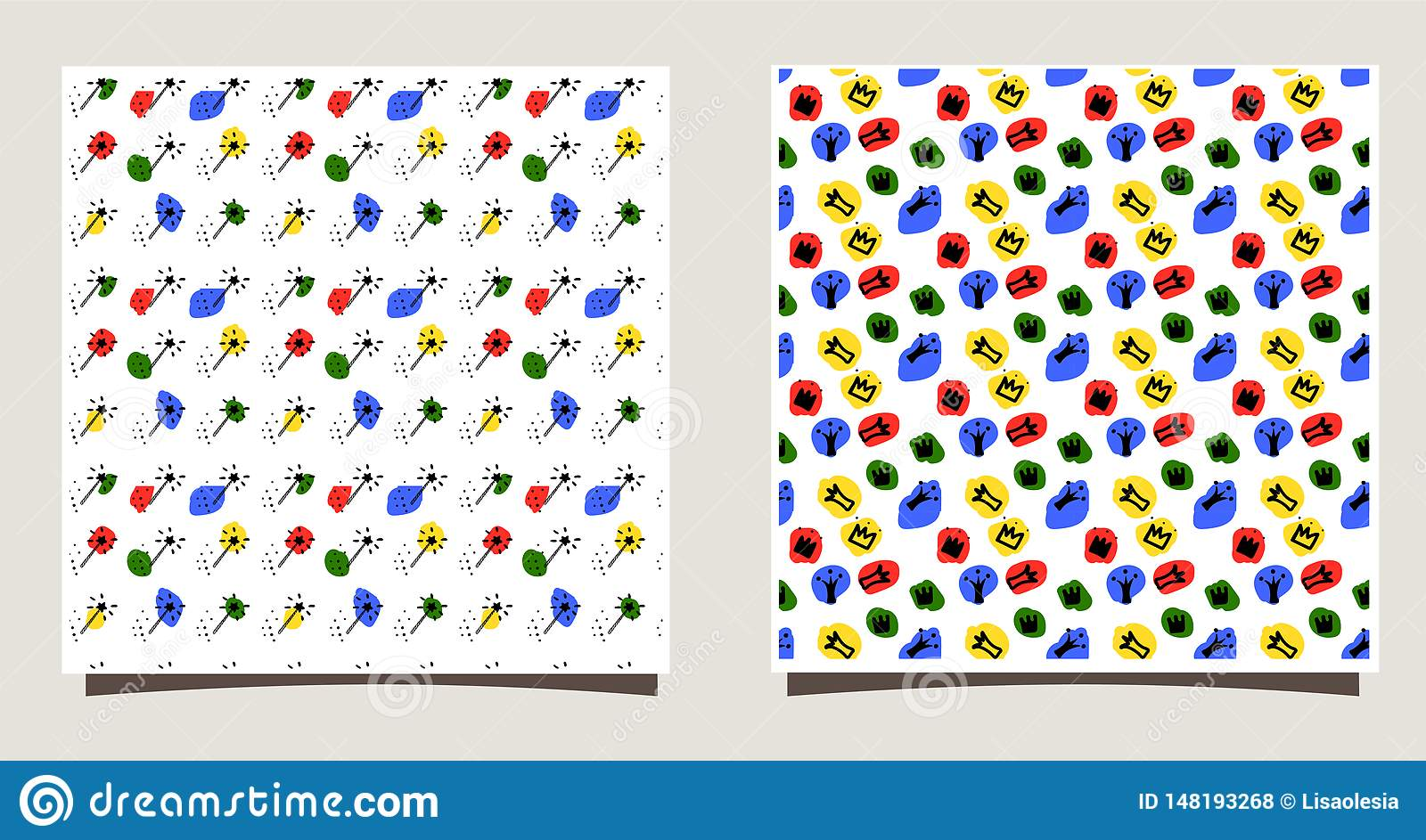 Repeating Tile with silhouettes of different crowns, dots, magic sticks. Funny vector illustration.