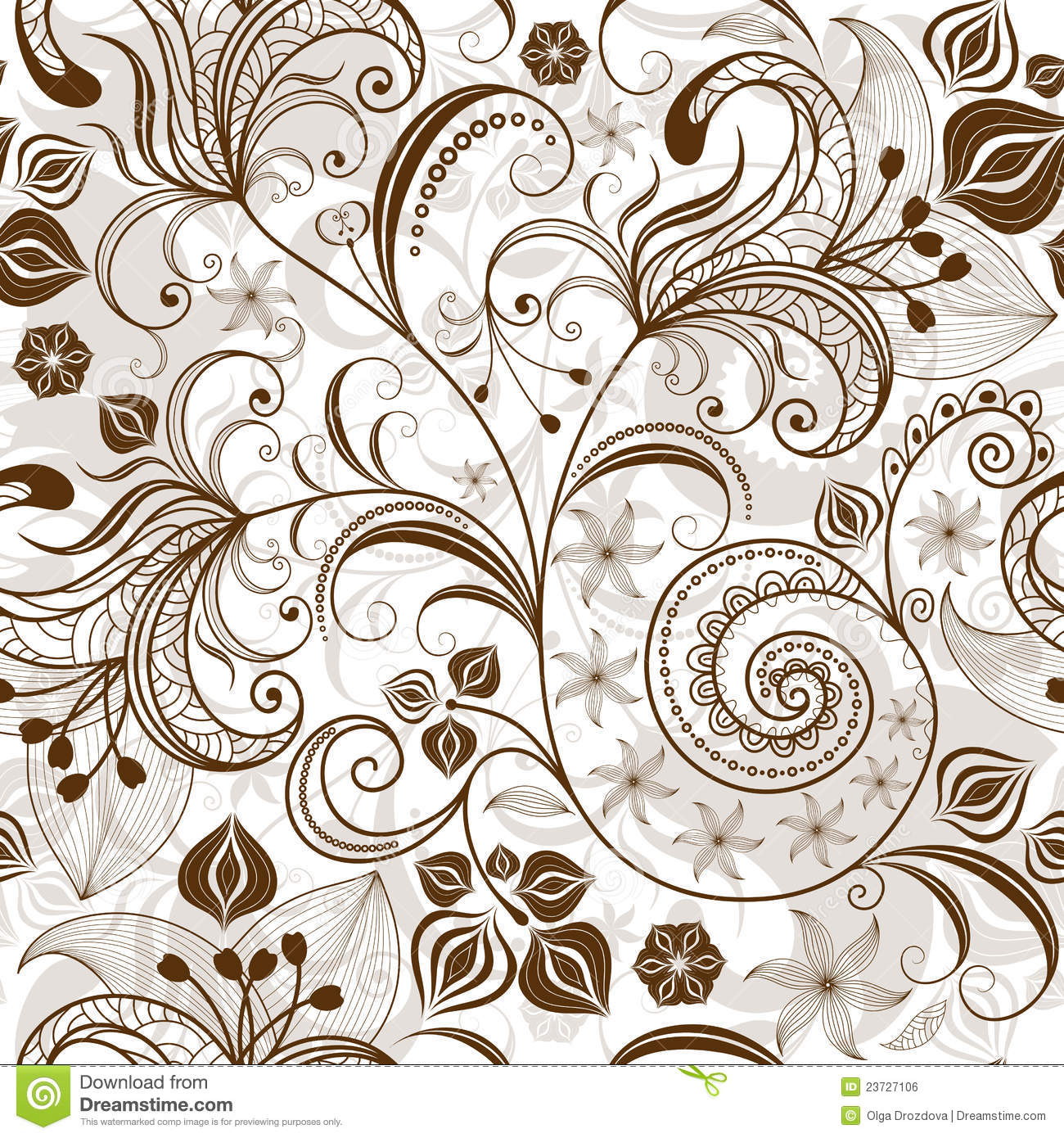 Repeating white brown floral pattern stock vector illustration of repeating white brown floral pattern mightylinksfo