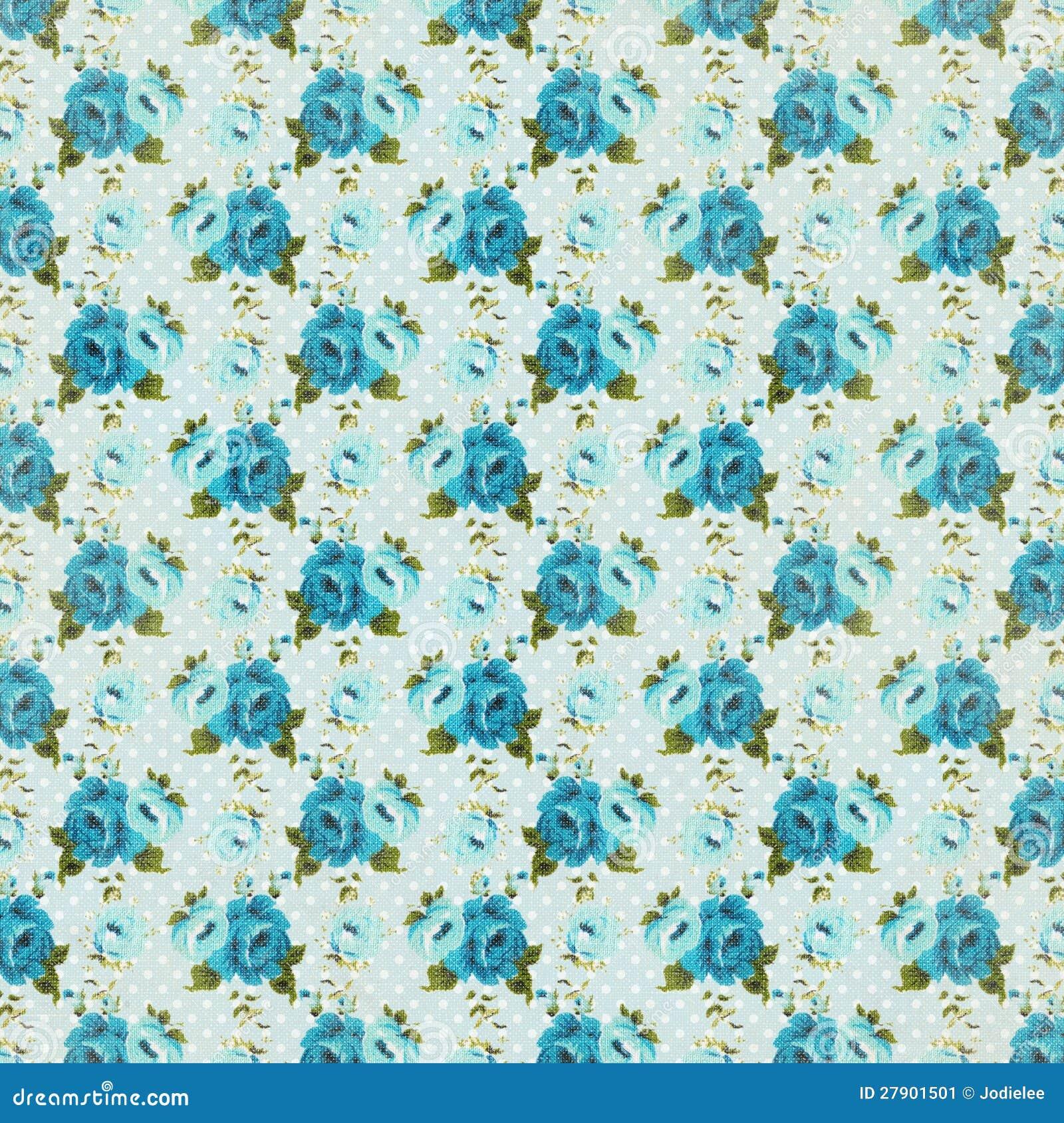 Repeti o cor de rosa floral do fundo do vintage azul for Papel decorativo azul
