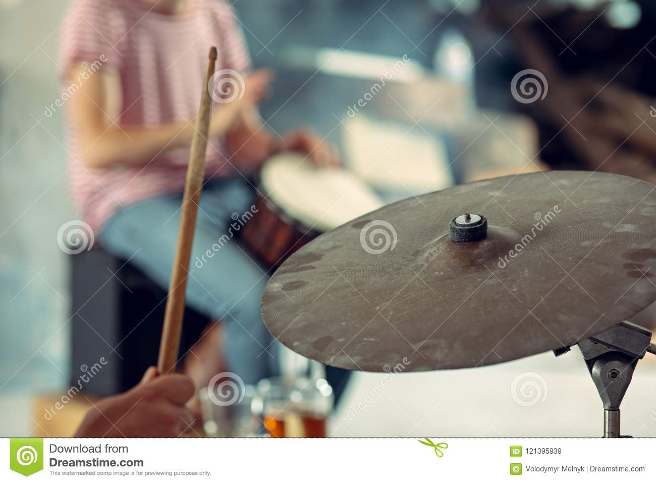 Repetition Of Rock Music Band Drummer Behind The Drum Set Stock