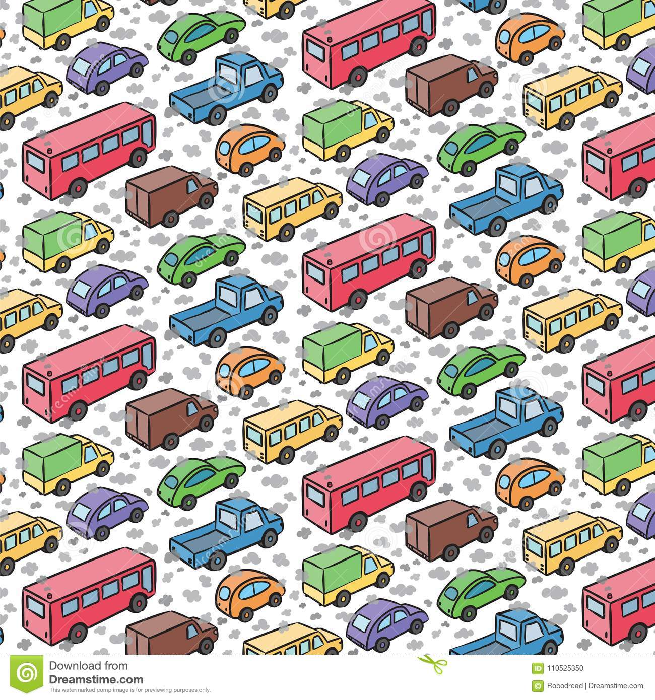 Repetitive pattern with transport cars