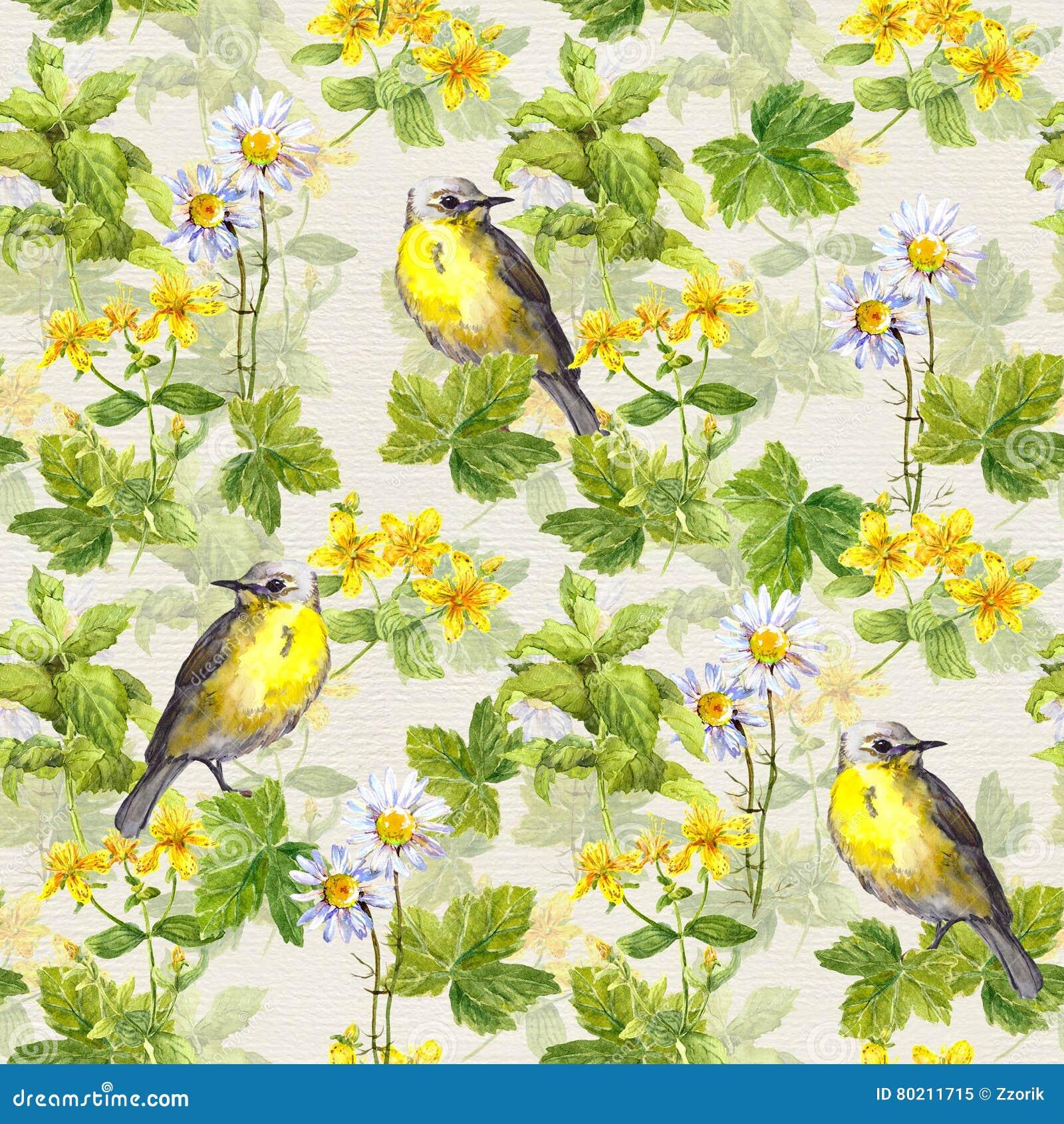 Repetitive pattern: wild herbs, flowers, grass, bird. Floral watercolour