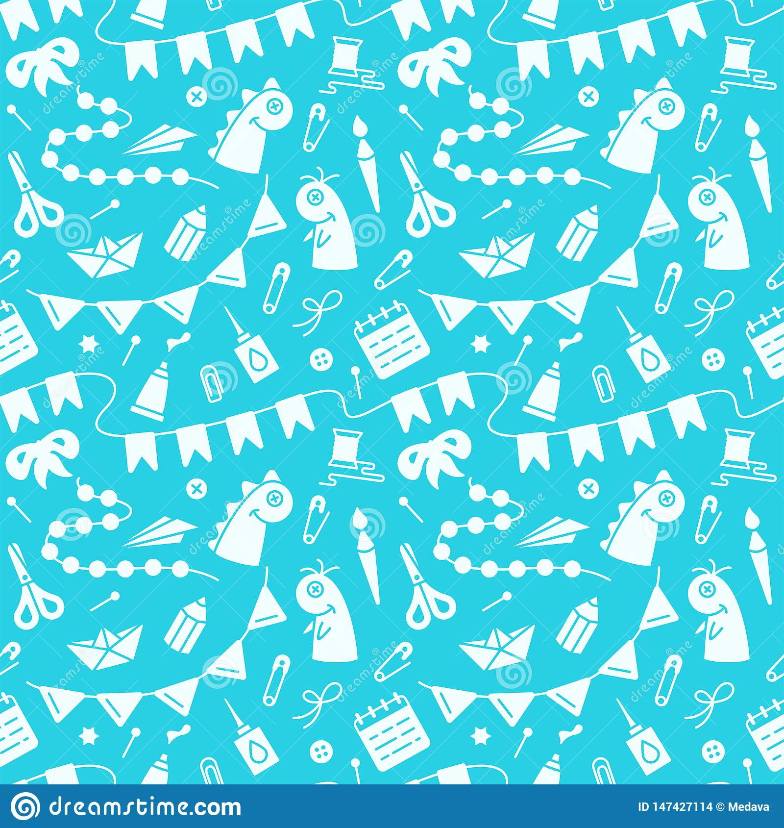 Repetitive seamless pattern with objects for kids creative activity