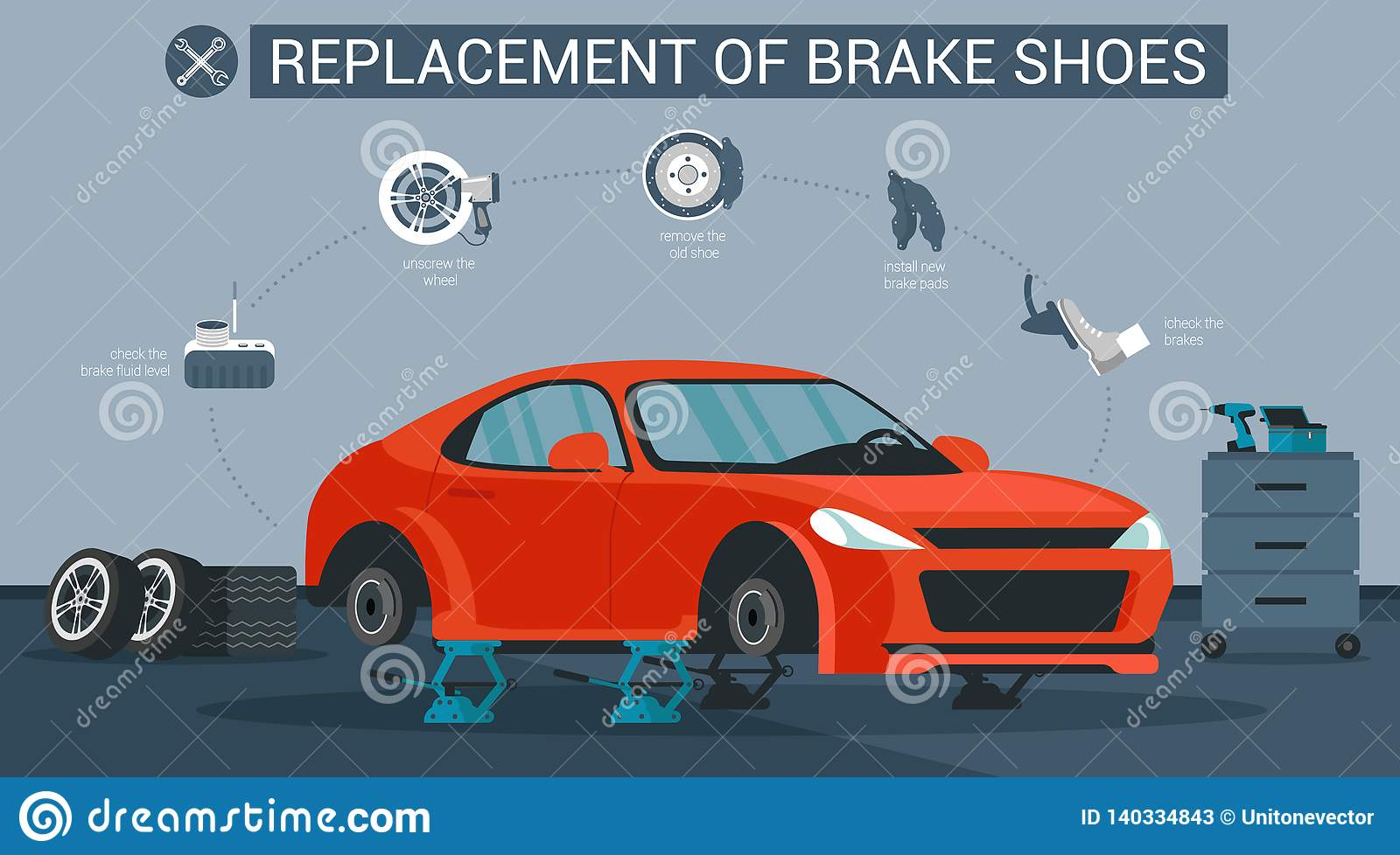 Replacement Brake Shoes Vector Flat Illustration Stock