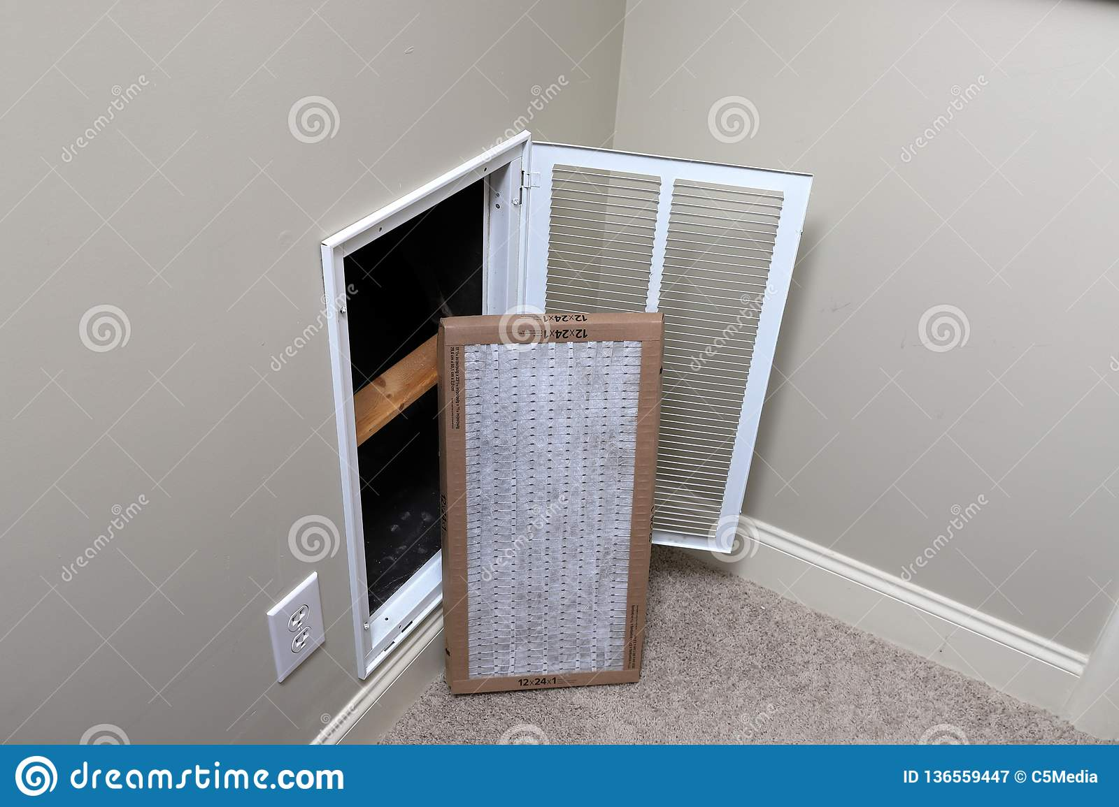 Dirty And Clean Air Conditioner Filter Stock Photo