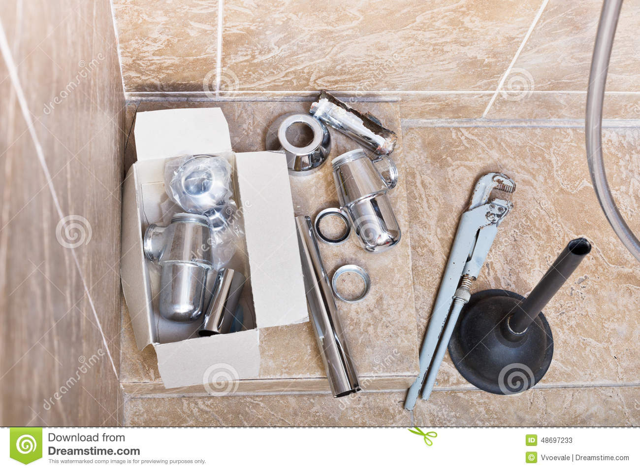 Replacing Of Corroded Sink Trap Stock Photo Image 48697233