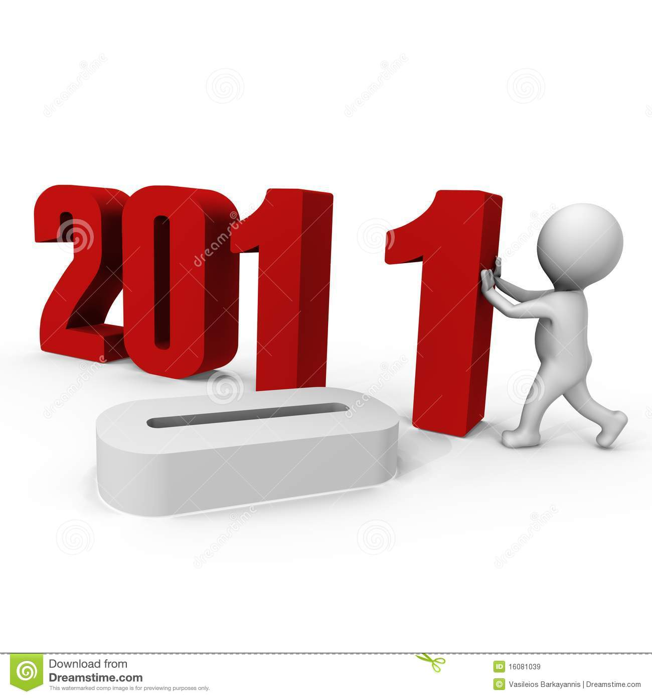 Replacing numbers to form new year 2011 - a 3d ima