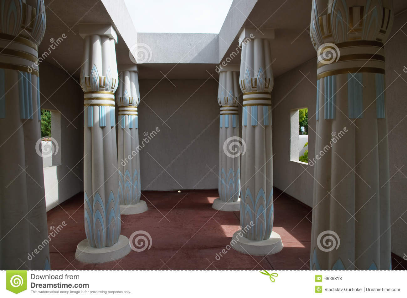 Replica Of Ancient Egyptian Architecture Column Perspective