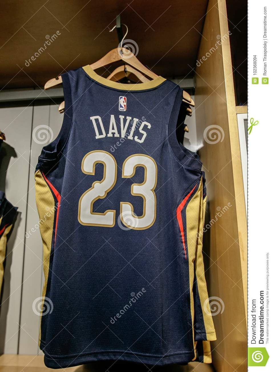 5da78ae0ac3 New York, October 20, 2017: Replica jersey of Anthony Davis of New Orleans  Pelicans on sale in the NBA store in Manhattan.