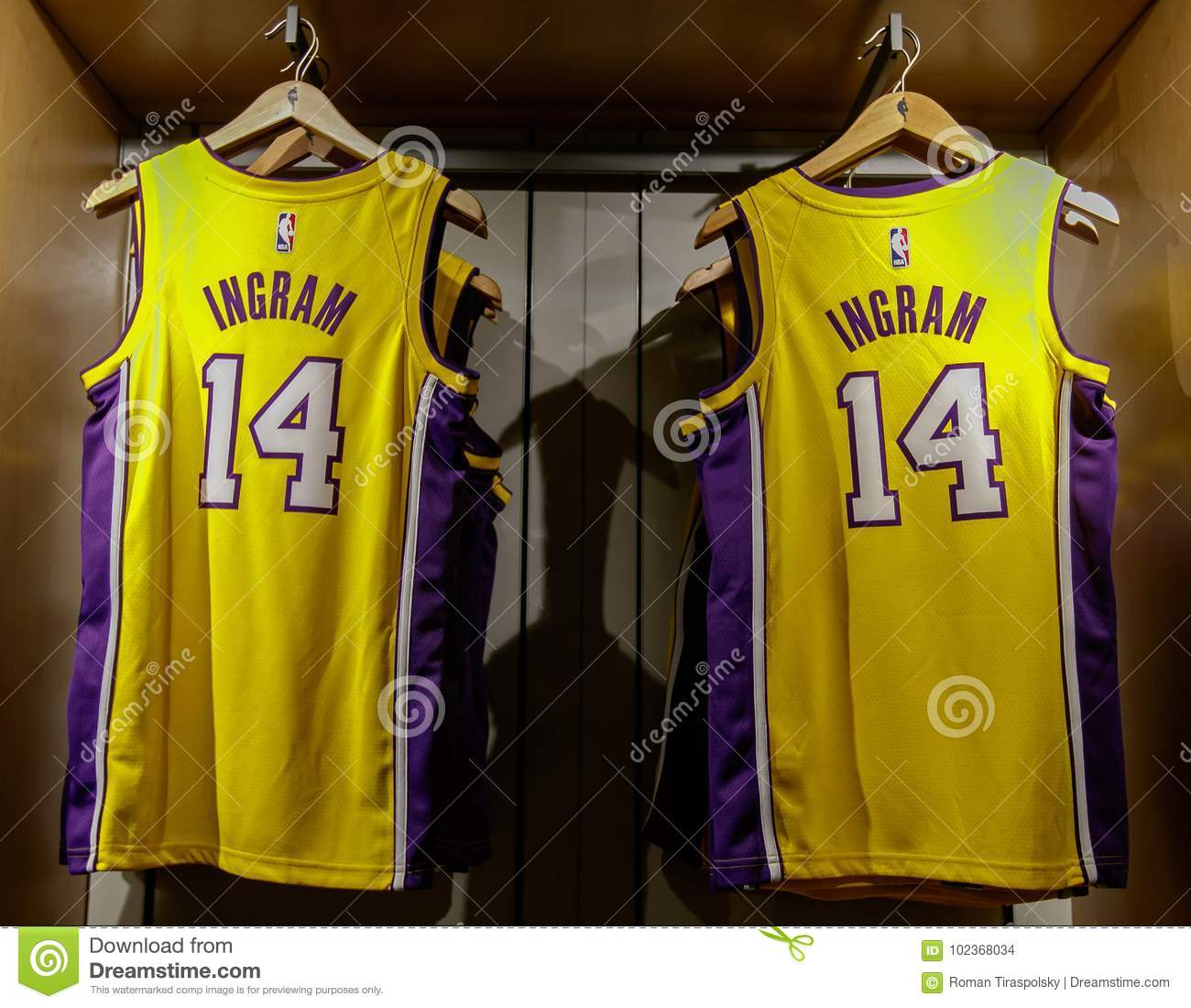 95d312b6597 New York, October 20, 2017: Replica jersey of Brandon Ingram of Los Angeles  Lakers on sale in the NBA store in Manhattan.