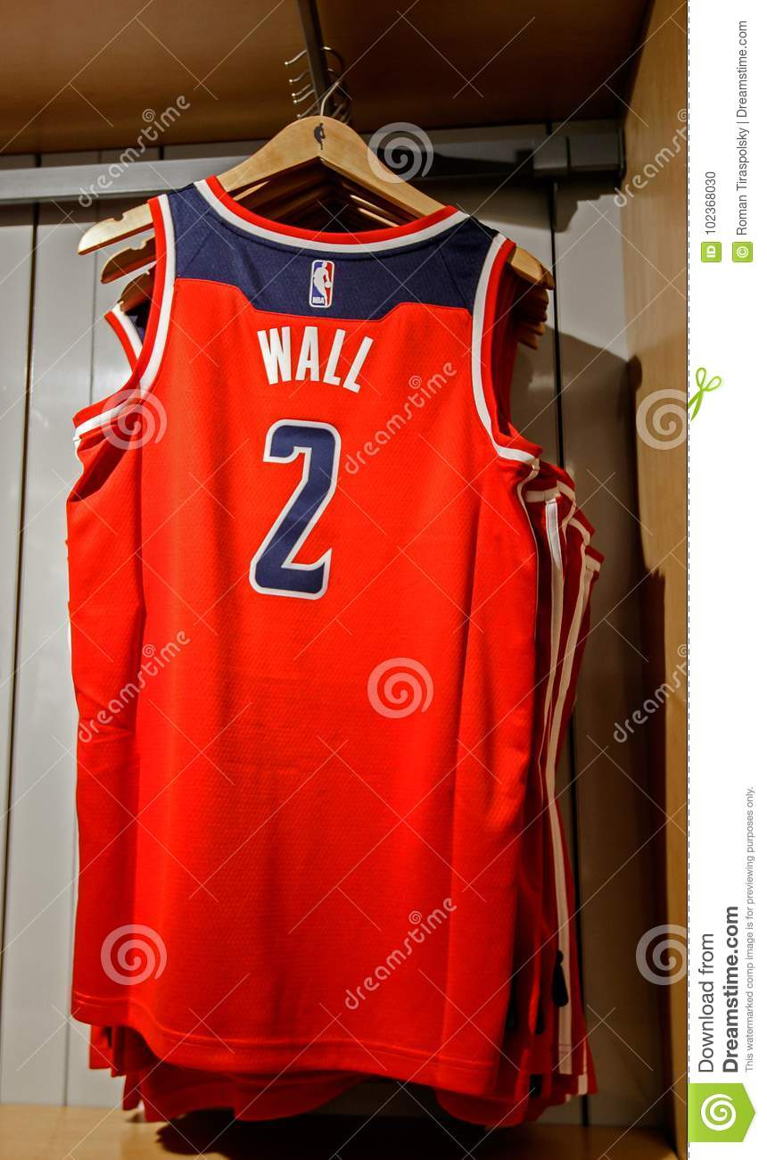 b8bde99fcf2 New York, October 20, 2017: Replica jersey of John Wall of Washington  Wizards on sale in the NBA store in Manhattan.