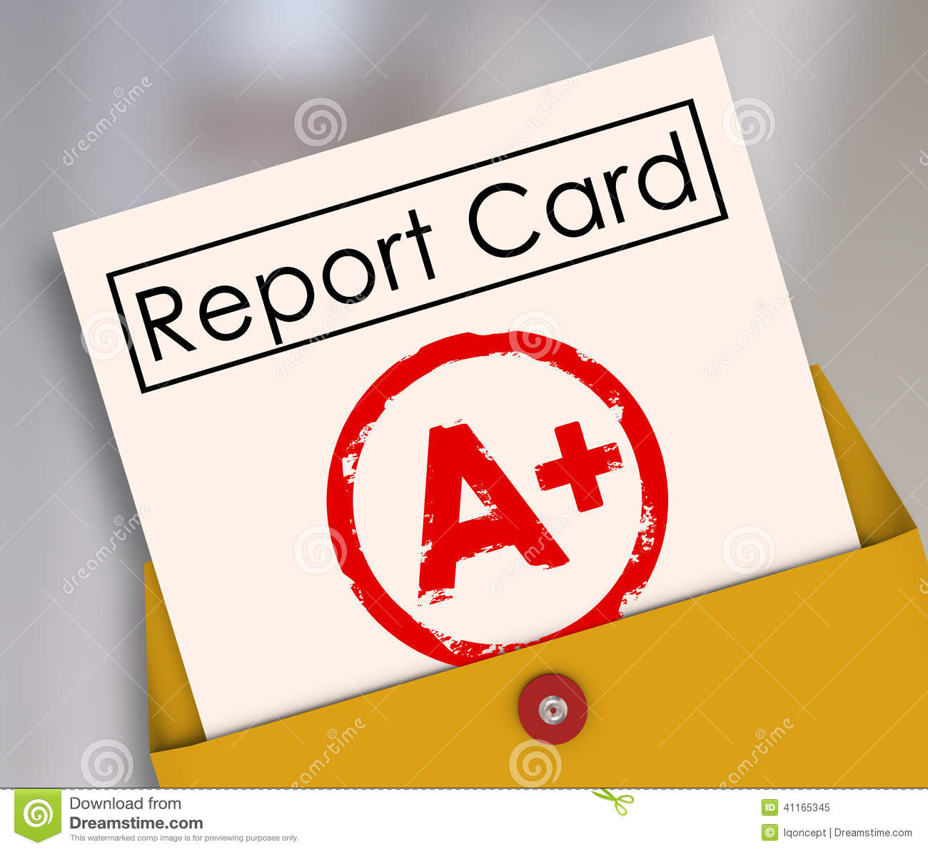 Report Card with A+ or Plus stamped on it within a yellow envelope to ...