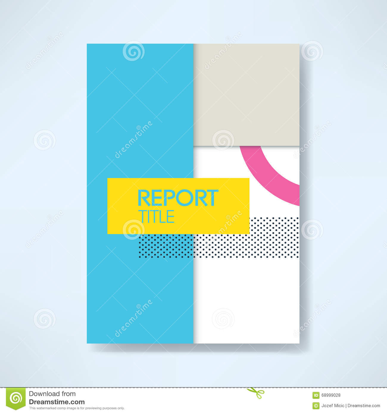 Annual Business Report Cover Template With Modern Material Design – Free Report Cover Templates