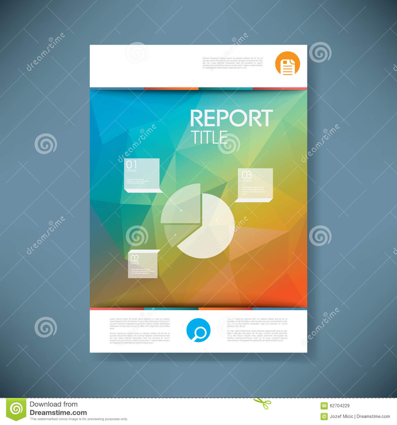 Report Cover Template With Pie Chart Symbol And 3d  Free Report Cover Page Template
